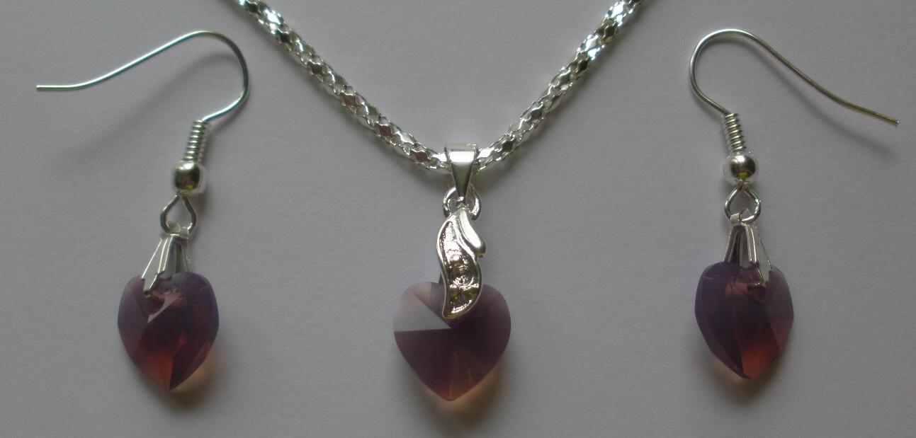 Sada Swarovski Srdce Amethyst Blend s bižuterními komponenty (Sw10Sr38) 6ecd726f4da