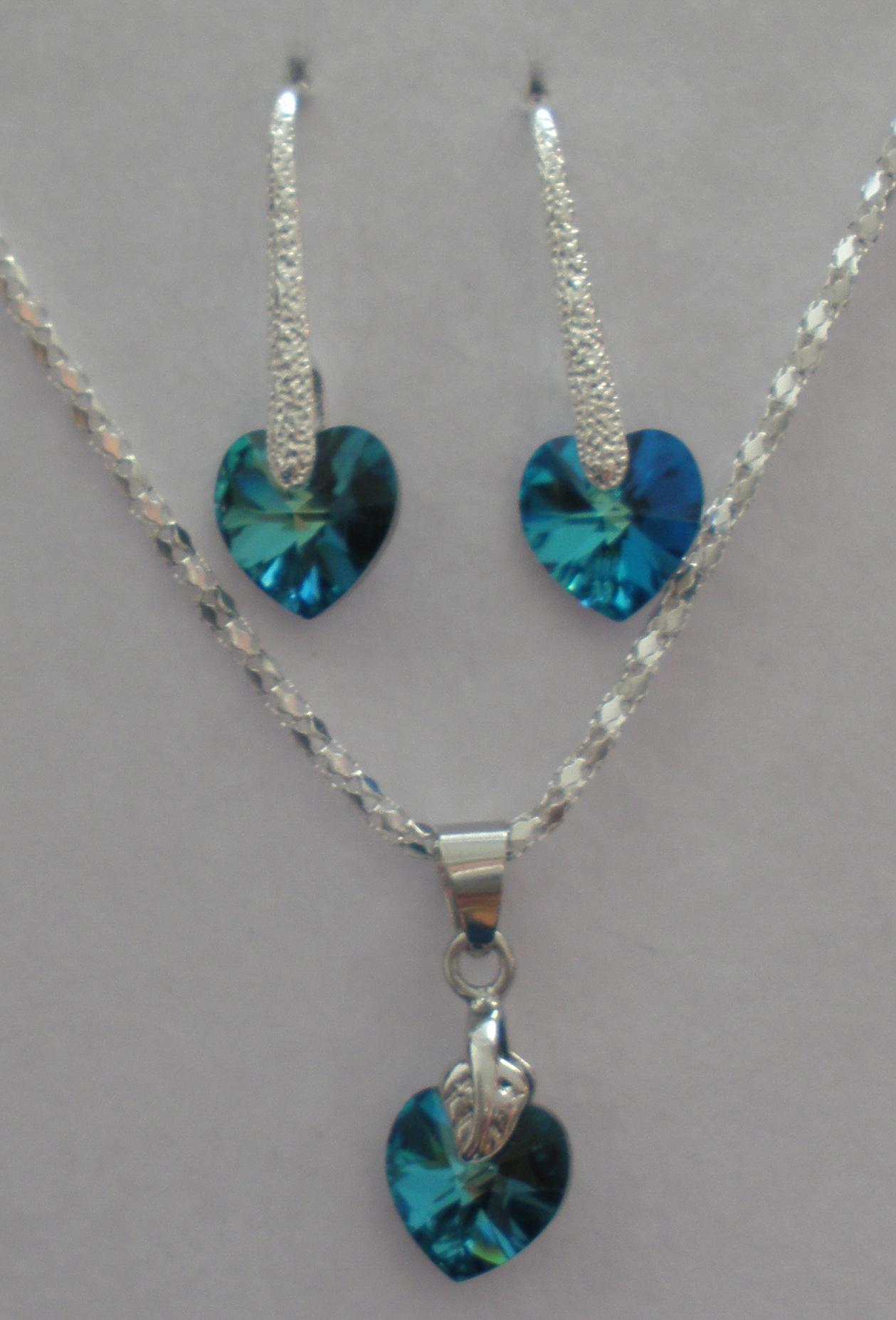 Sada Swarovski Srdce Bermuda Blue s bižuterními komponenty (Sw10Sr33) 740ccf8f9ab