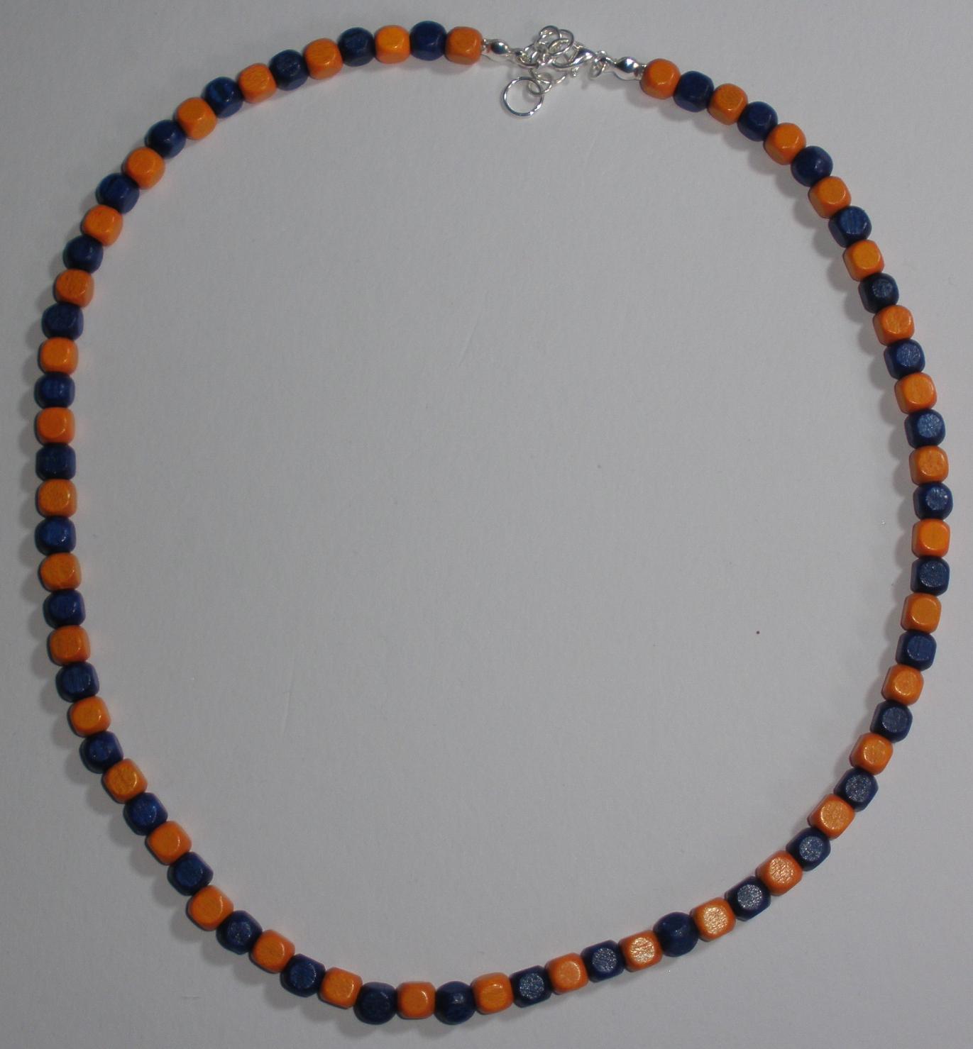 Pánský náhrdelník z dřevěných korálků oranžovo-modrý (P2) 58338db9733