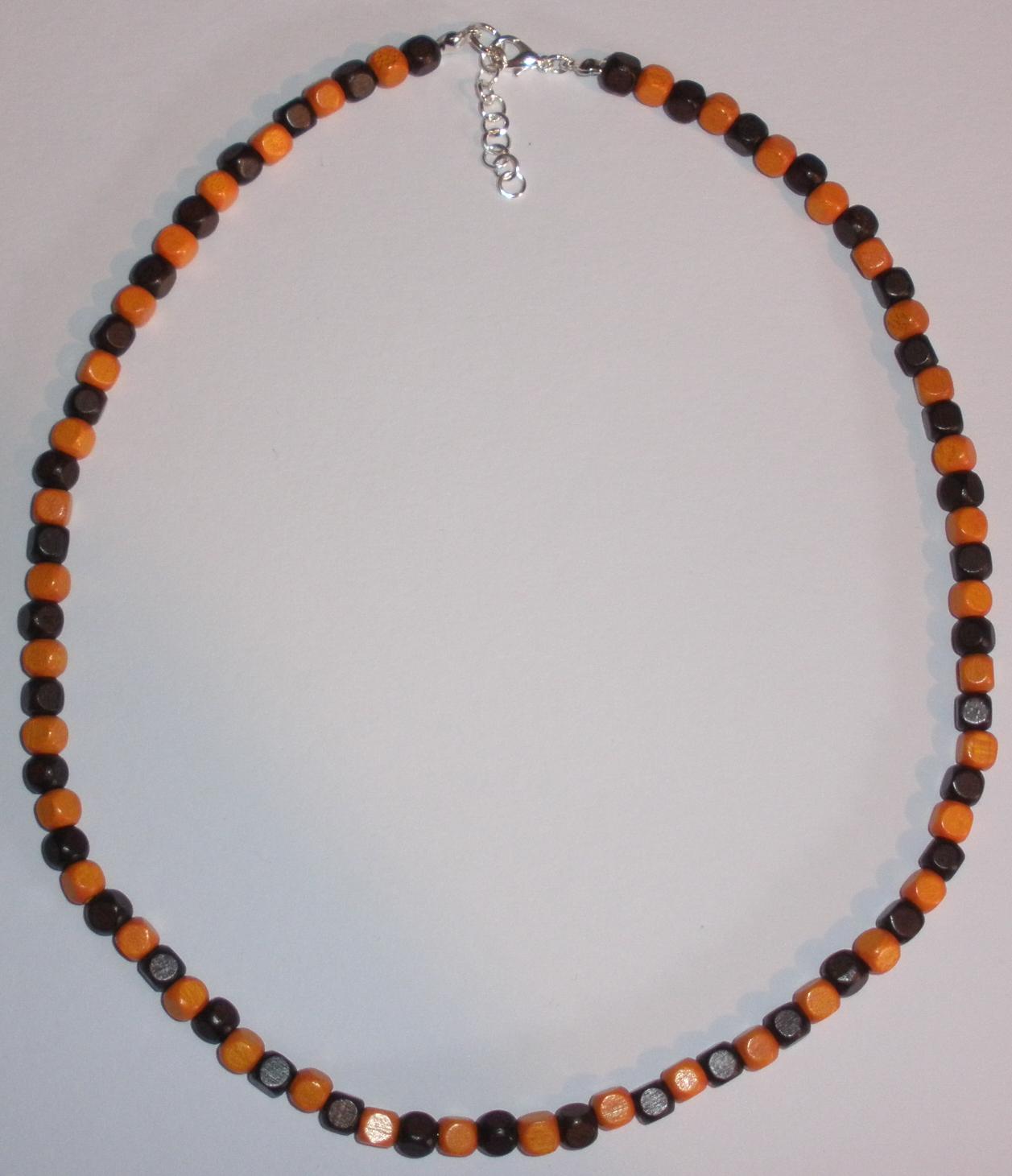 Pánský náhrdelník z dřevěných korálků oranžovo-hnědý (P1) fbdc754ad82