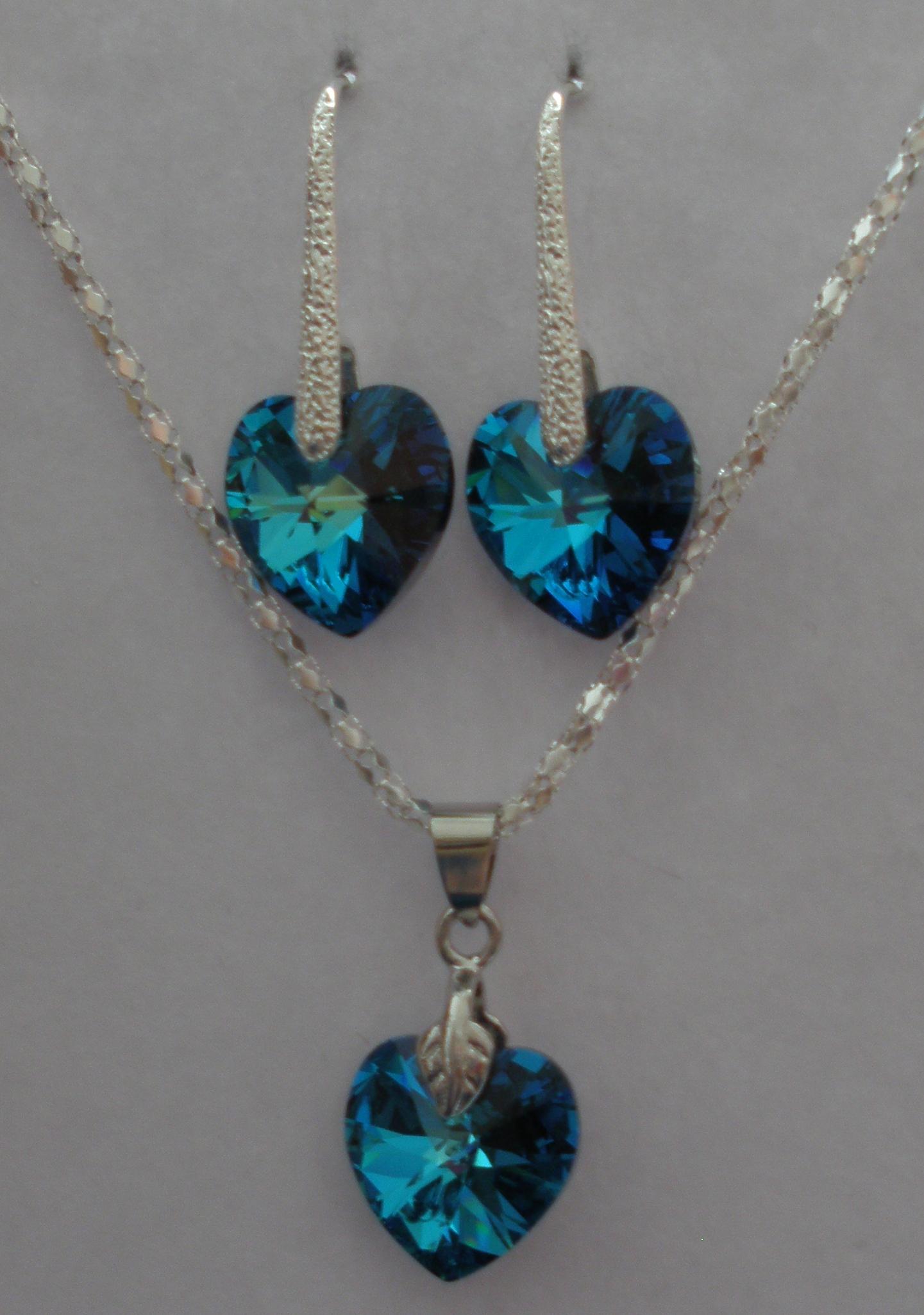 Sada Swarovski Srdce Bermuda Blue s bižuterními komponenty (Sw14Sr10) 89f9dec84ff
